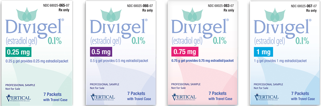 Divigel® comes in 0.25 mg, 0.5 mg, 0.75 mg, and 1 mg.